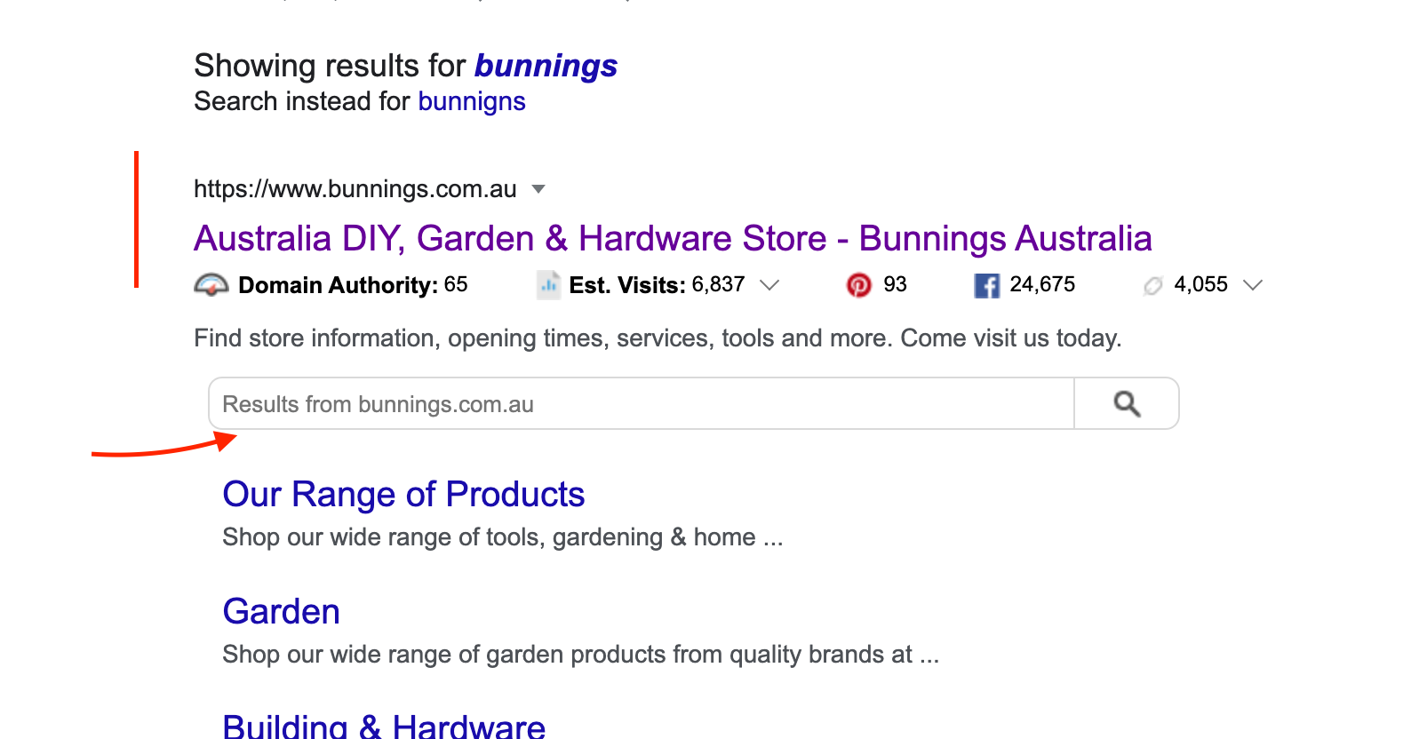 how to get a search box in the search results